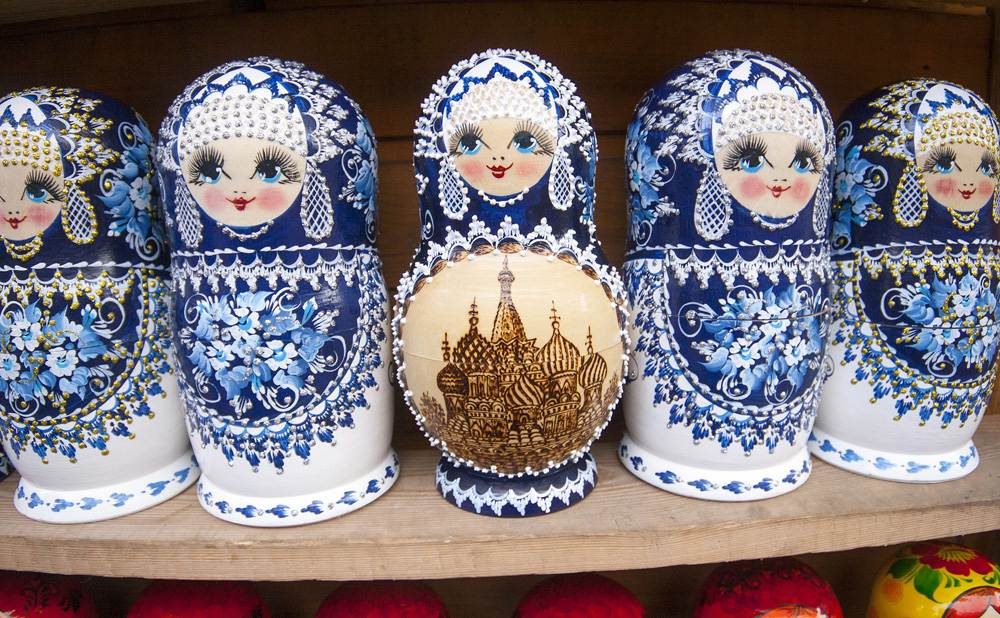 Matryoshka dolls sold at the flea market at Izmailovsky Park. Moscow, Russia