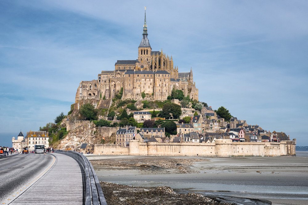 Mont Saint-Michel and a road to Abbey, Normandy, France