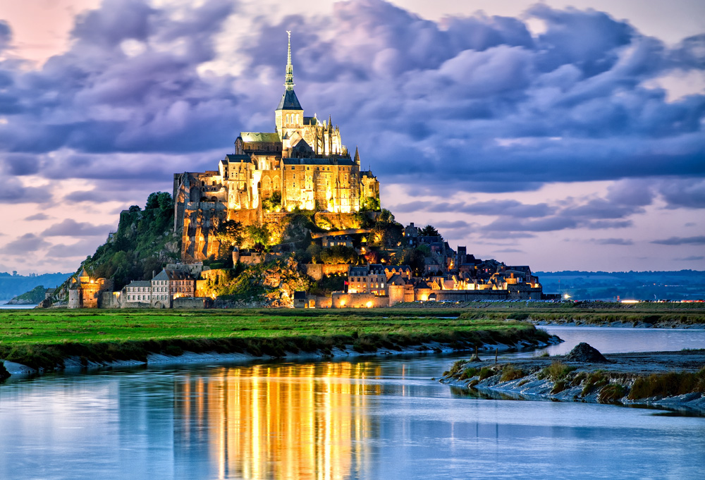 Mont Saint-Michel at twilight, Normandy, France