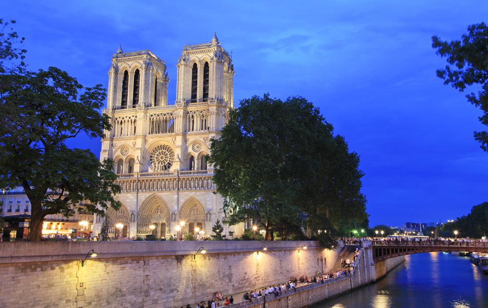 Notre Dame de Paris and the Left Bank at night, Paris, France