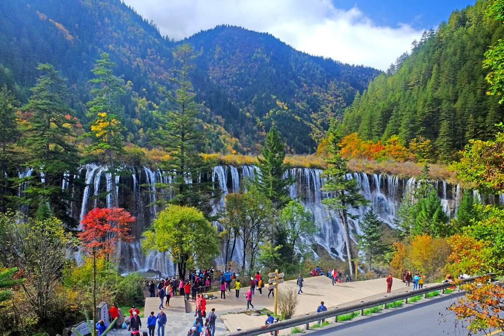 Nuorilang waterfall in Jiuzhaigou National Park, China