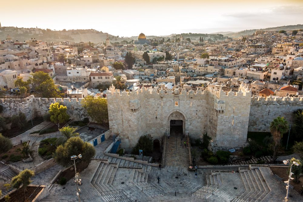 Old City in Jerusalem with Damascus Gate, Israel