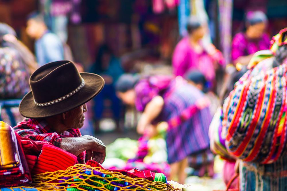 Old Mayan man in Chichicastenango Market, Chichicastenango, Guatemala