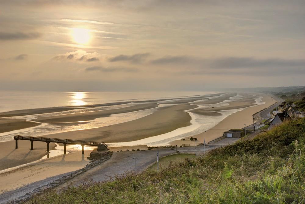 Omaha Beach at sunrise, Normandy, France
