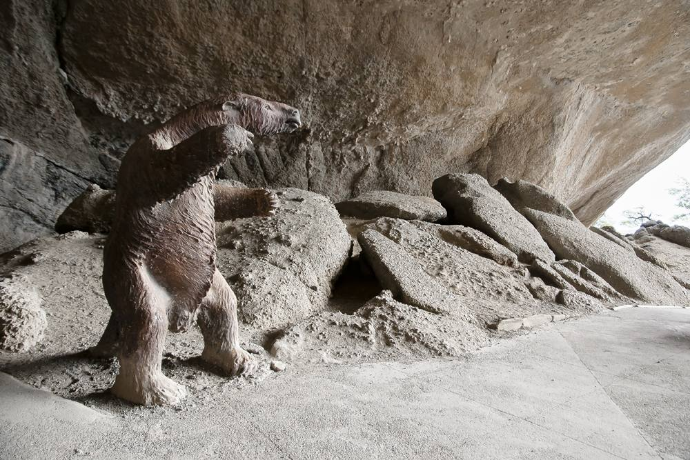 Replica of a Mylodon at Milodon Cave (Cueva del Milodon), Patagonia, Chile