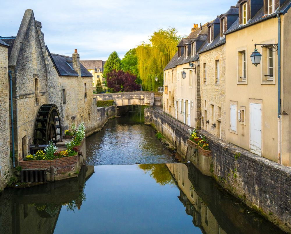 River bridge in old town Bayeux, Normandy, France