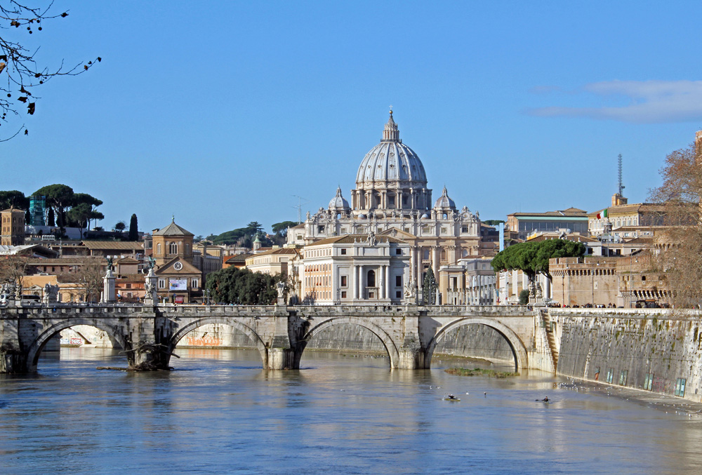 St. Peter's Basilica along the Tiber River in Rome, Italy