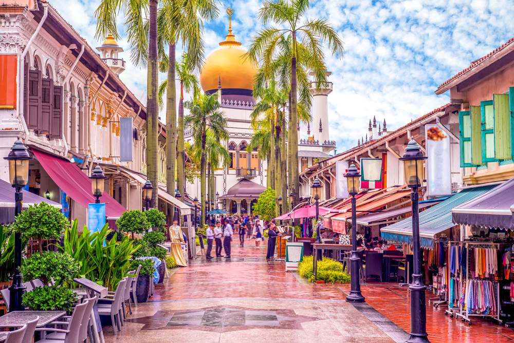 Street view of Kampong Glam with Masjid Sultan mosque in background, Singapore