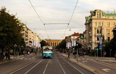 Tram along Avenyn in Gothenburg, Sweden