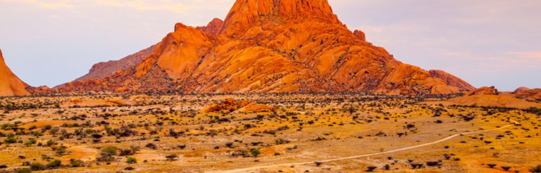 Unique rock formation of pink granite in Spitzkoppe, Damaraland, Namibia