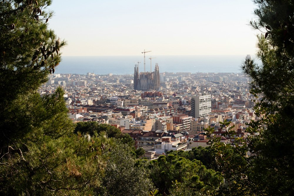 View of Sagrada Familia from Park Guell, Barcelona, Spain