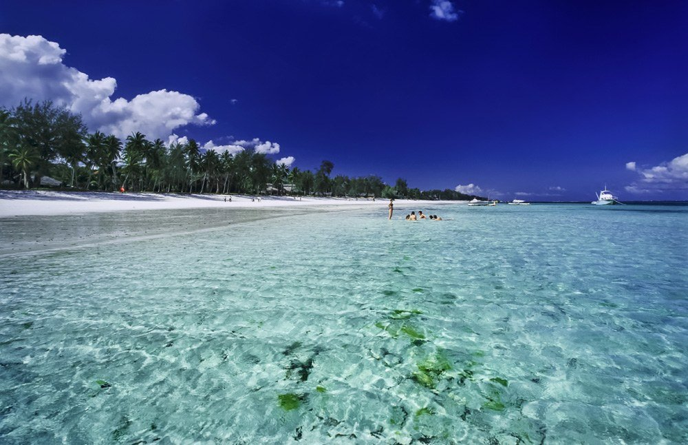 White sand beach and clear waters in Malindi, Kenya