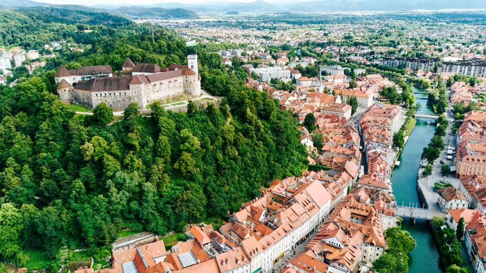 Aerial view of Ljubljana and Ljublijana Castle, Slovenia