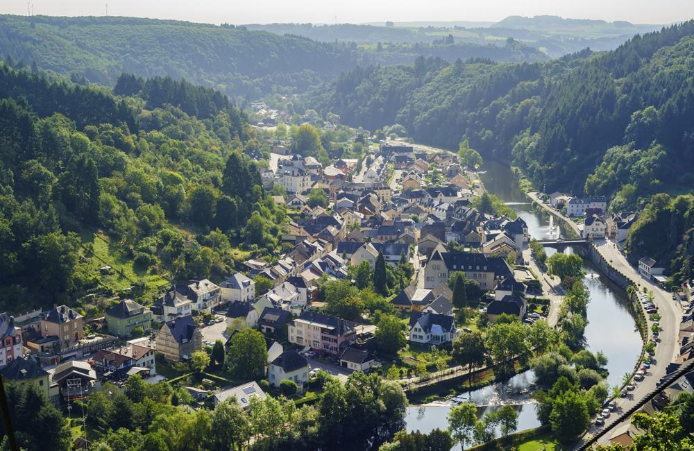 Aerial view of Vianden city, Luxembourg
