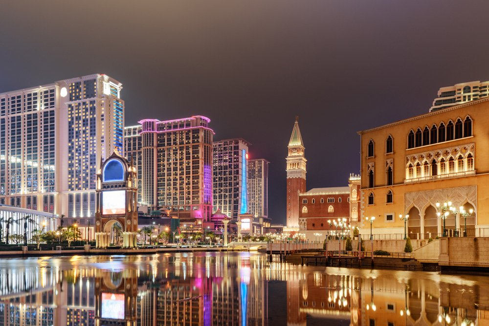 Amazing night view of hotels and casinos in Cotai, Macau