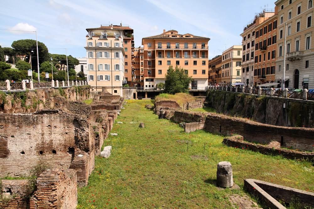 Ancient Roman ruins of Ludus Magnus, historic gladiator school, Rome, Italy