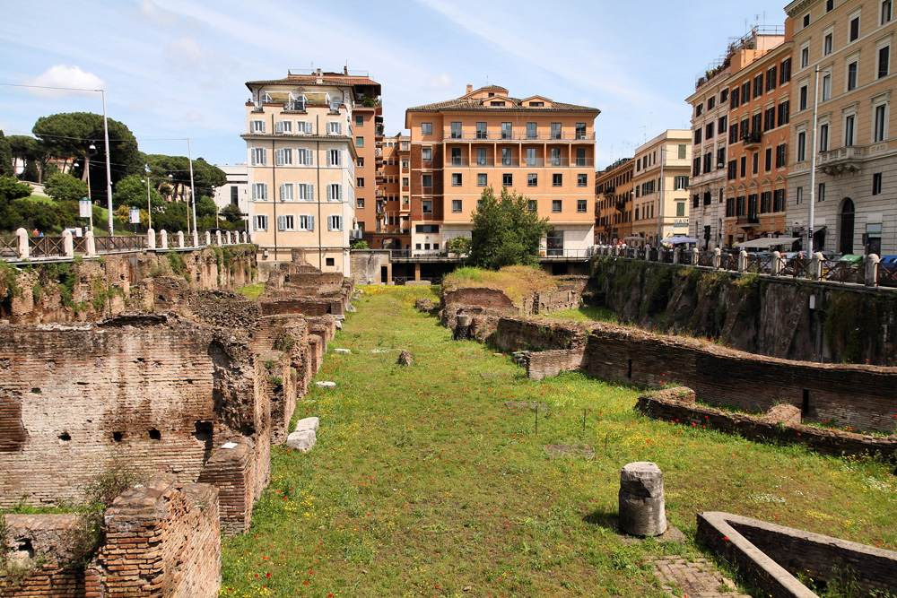 Ancient Roman ruins of Ludus Magnus, historic gladiator school, Rome, Italy