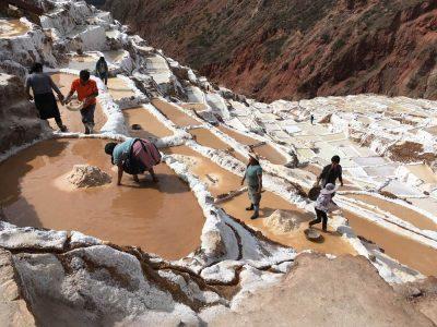 Aren Bergstrom - Andean Villagers Working the Salt Pans, Sacred Valley, Peru