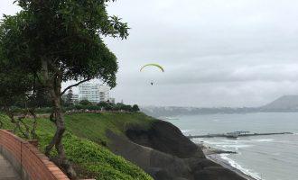 Aren Bergstrom - Paragliding Off Cliffs of Miraflores, Lima, Peru - Cropped