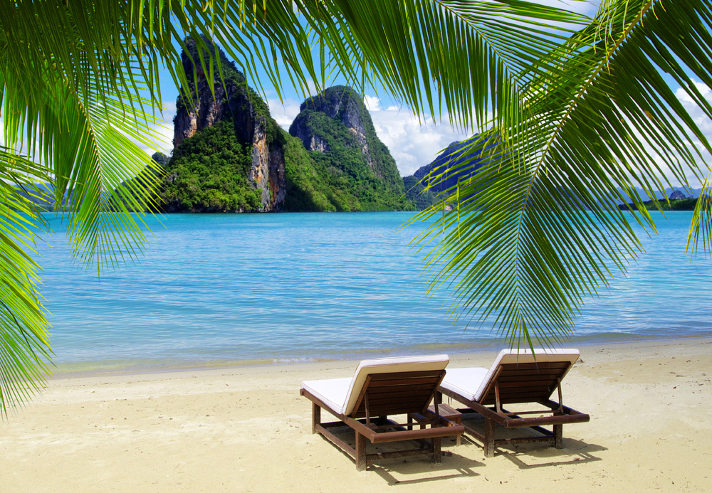 Beach with Two Lounge Chairs, Thailand