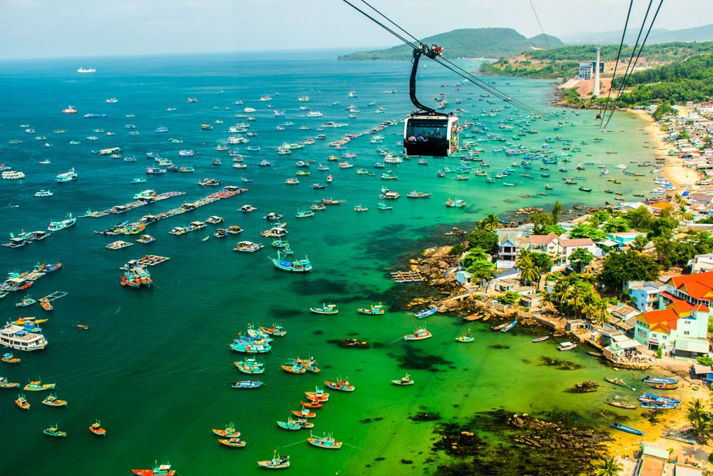 Cable car situated on Phu Quoc Island, Vietnam