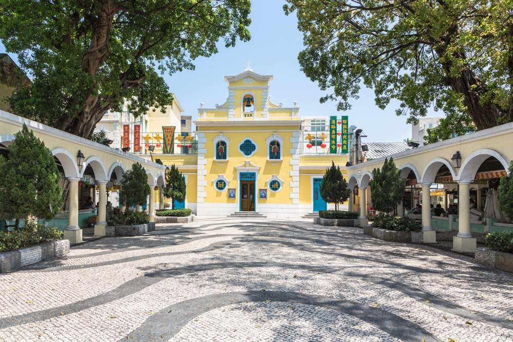 Church of St. Francis Xavier in the charming village of Coloane in Macau