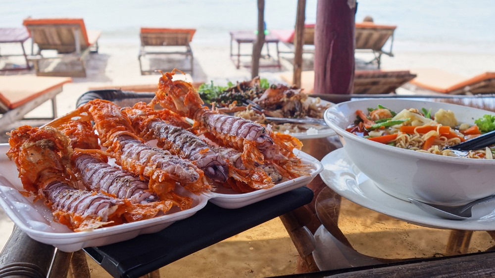 Delicious fried seafood in Sihanoukville, Cambodia