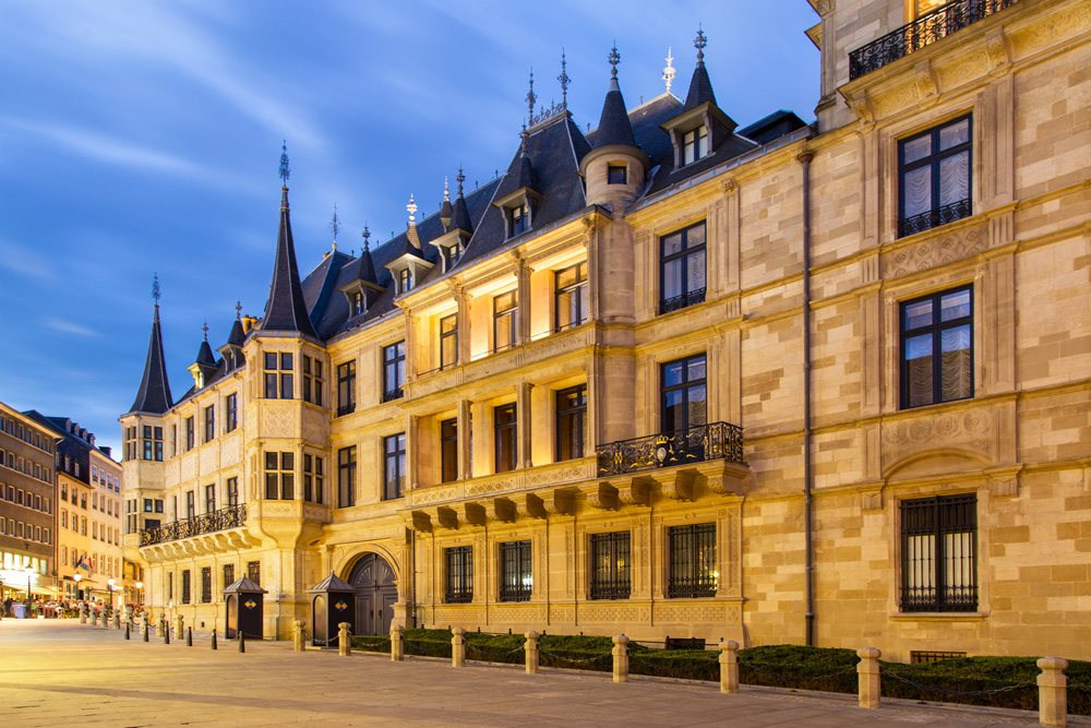 Grand Ducal Palace at dusk, Luxembourg city, Luxembourg