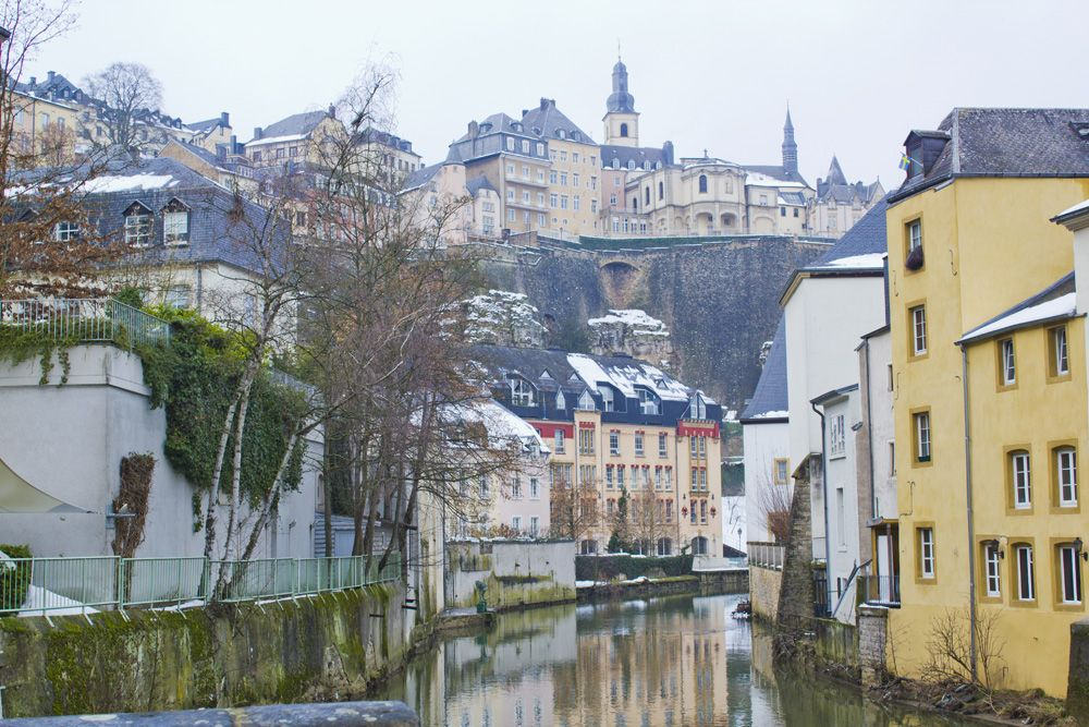 Grund neighbourhood in Luxembourg City in winter, Luxembourg