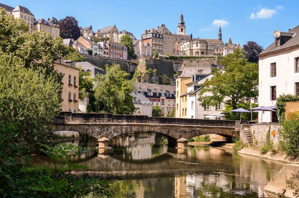 Grund neighbourhood with scenic view of bridge across Alzette River, Luxembourg City, Luxembourg