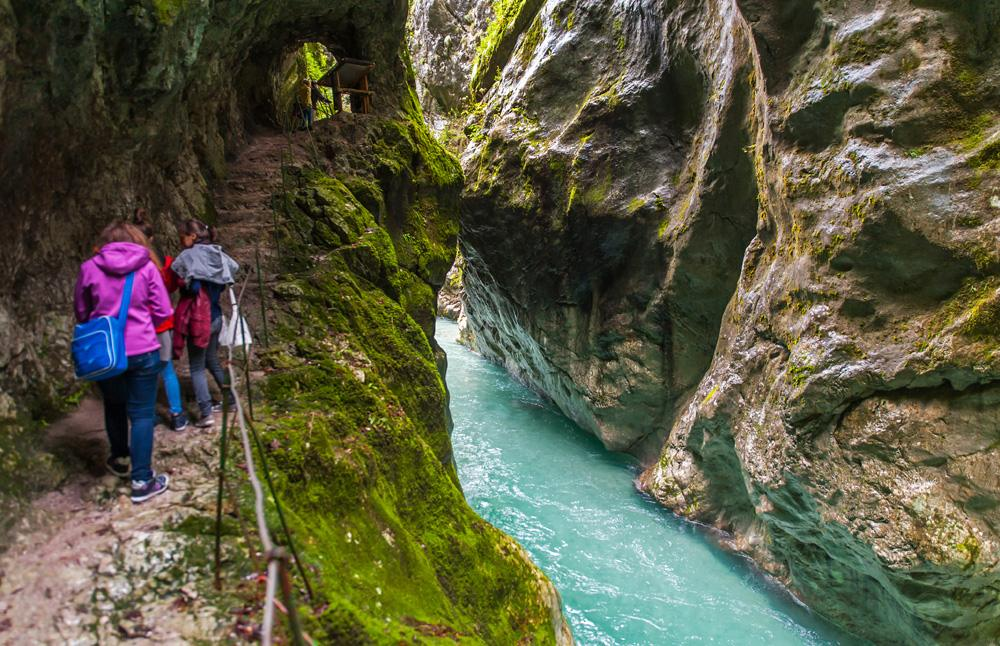 Hiking along Tolmin gorge in Triglav National Park, Slovenia