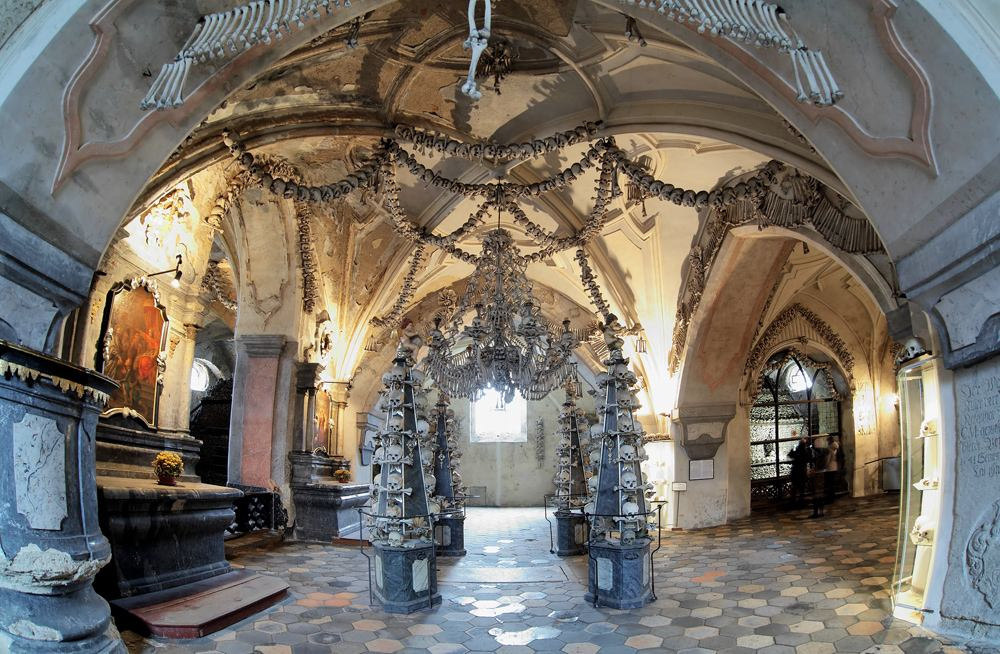 Interior of the Sedlec Ossuary decorated with skulls and bones, Kutna Hora, Czech Republic