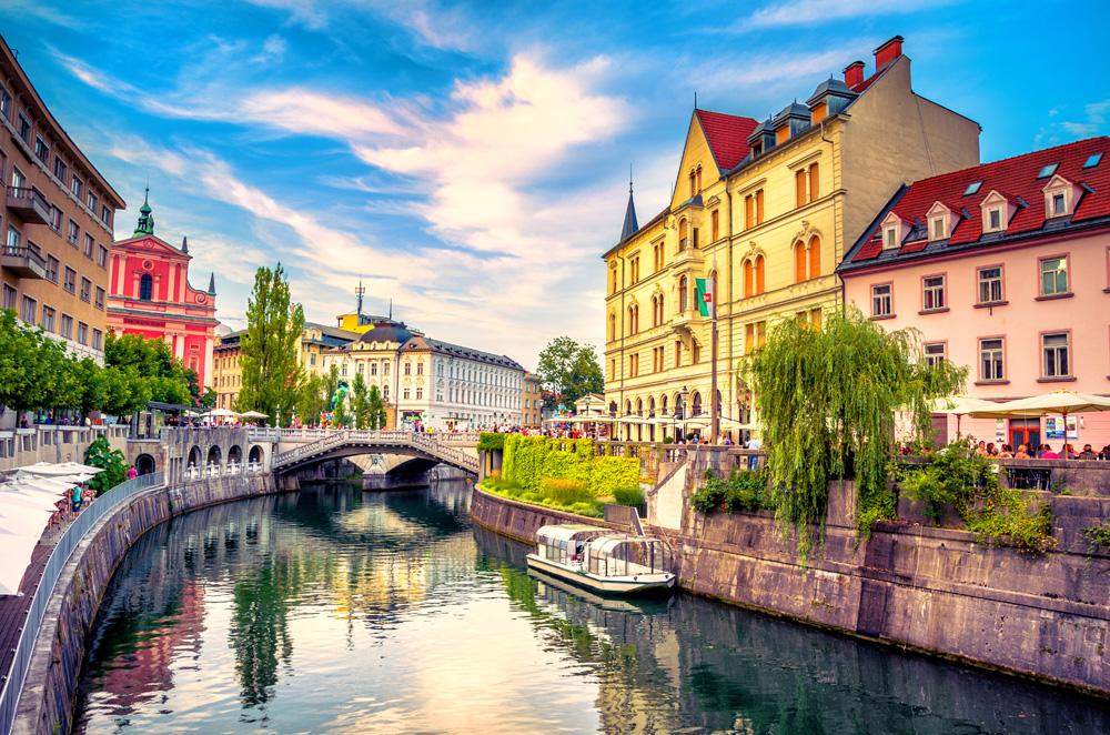 Ljubljanica river canal in the old town. Ljubljana, Slovenia