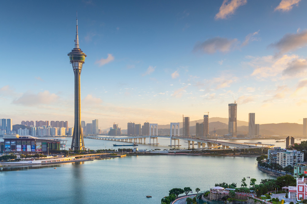 Macau Tower and city skyline at sunset, Macau