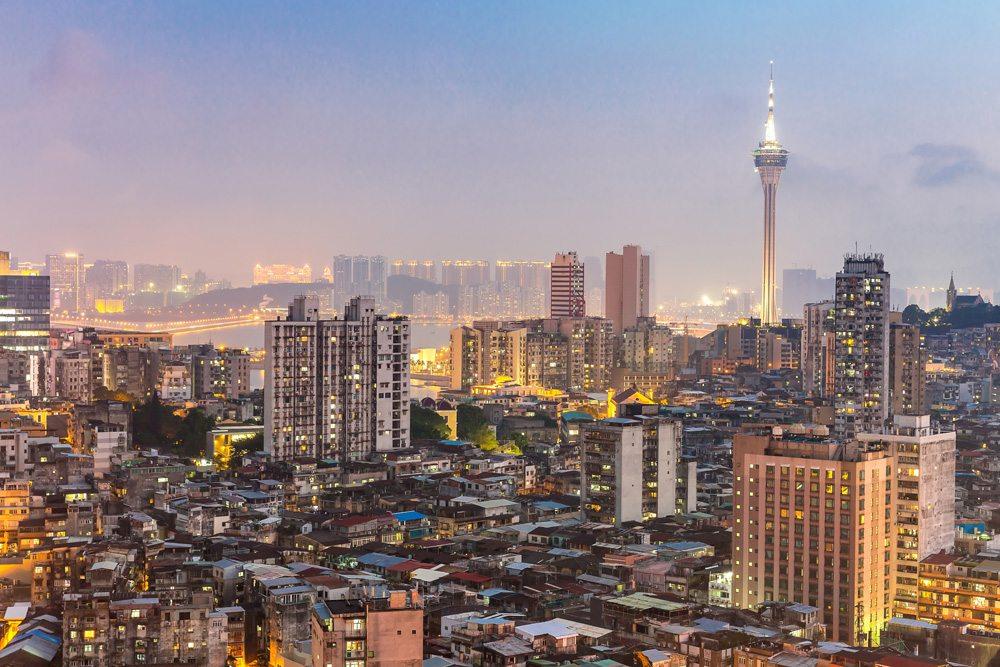 Macau cityscape skyline at dusk, Macau