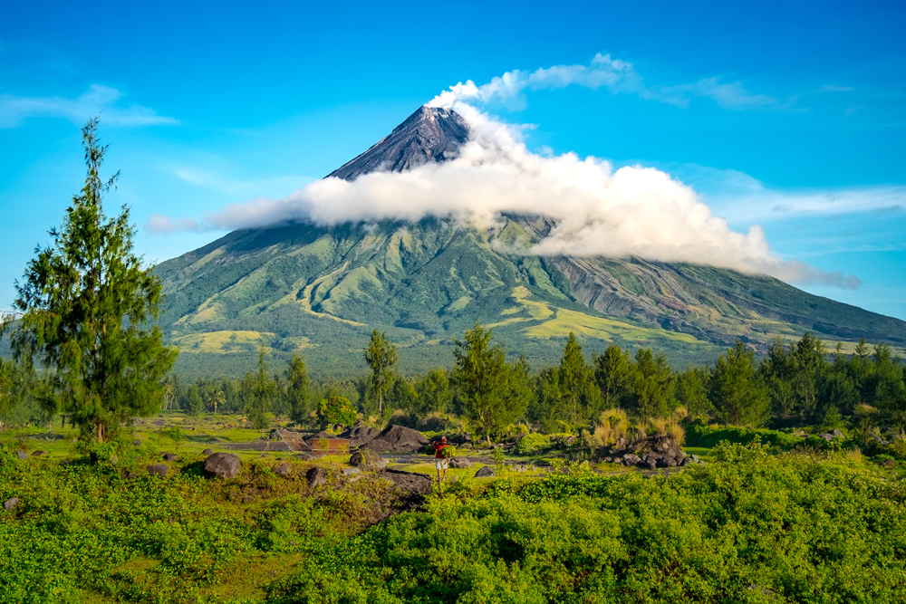 Mayon Volcano on the island of Luzon in the Philippines