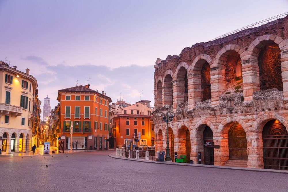 Morning in the streets of Verona near the Coliseum Arena di Verona, Verona, Italy_