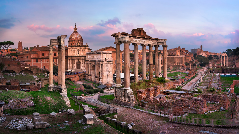 Panorama of Roman Forum at sunset, Rome, Italy