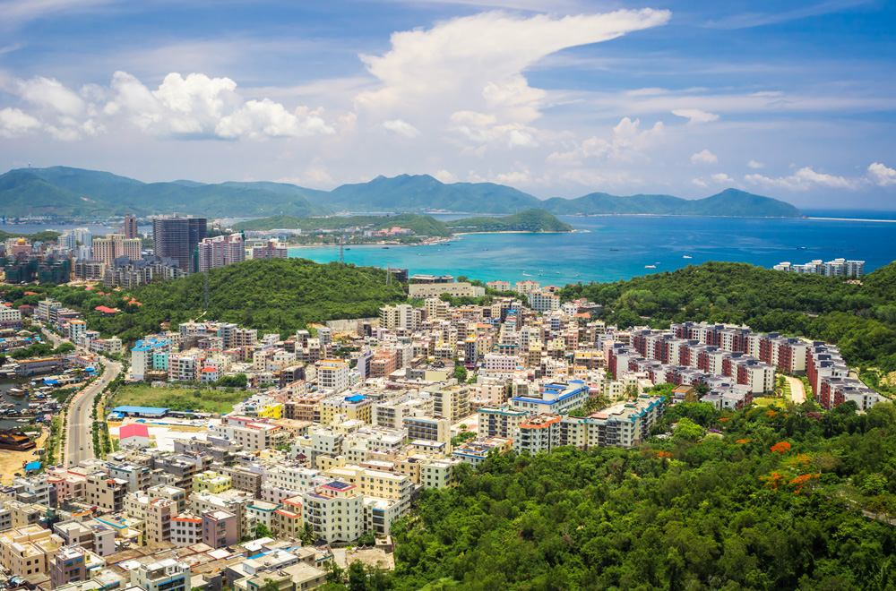 Panoramic view of Sanya city and Dadonghai Bay from Luhuitou Park, Hainan Island, China