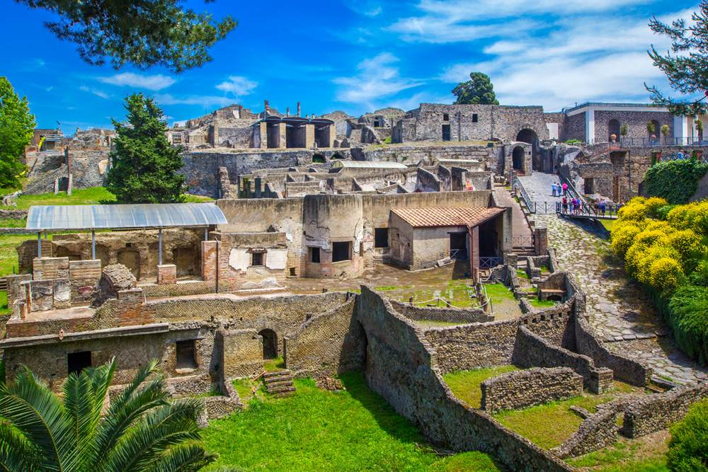 Panoramic view of the ancient city of Pompeii, Italy