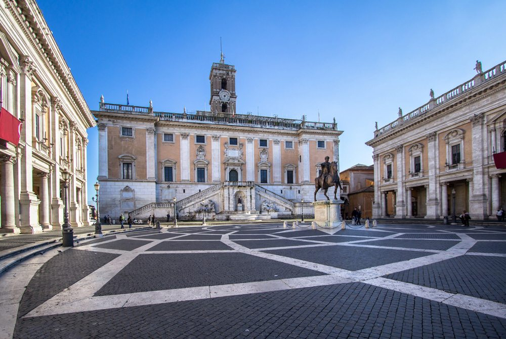 Piazza del Campidoglio with surrounding museums, Capitoline Hill, Rome, Italy