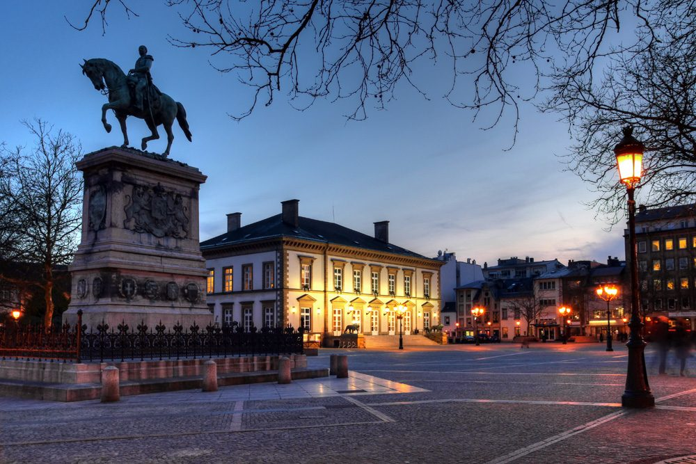 Place Guillaume II Square at night, Luxembourg City, Luxembourg