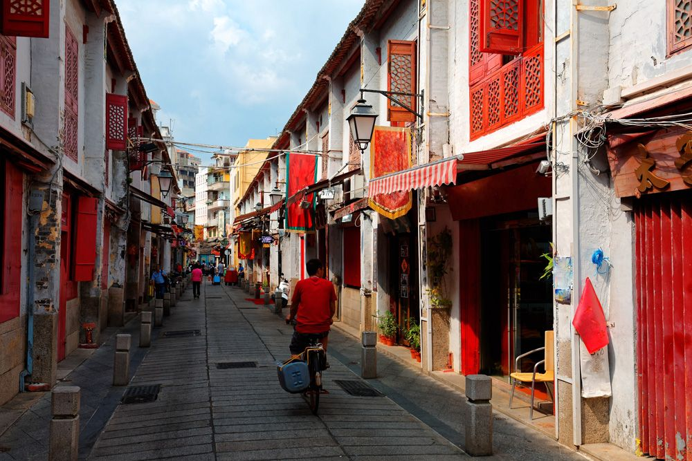 Rua da Felicidade or The Street of Happiness, flanked by traditional Chinese houses, Macau