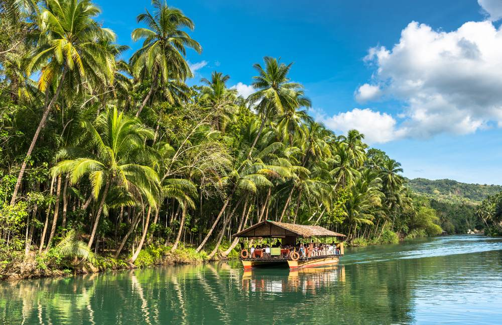 Traditional raft boat on Loboc River, Bohol Island, Philippines