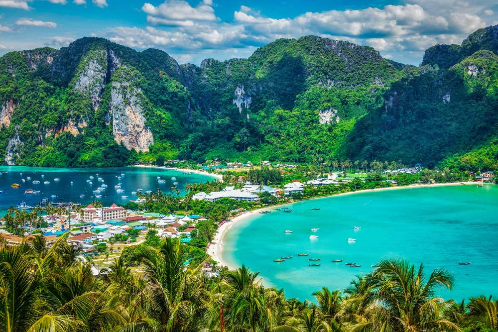 Tropical island with resorts on Phi Phi Island, Krabi Province, Thailand