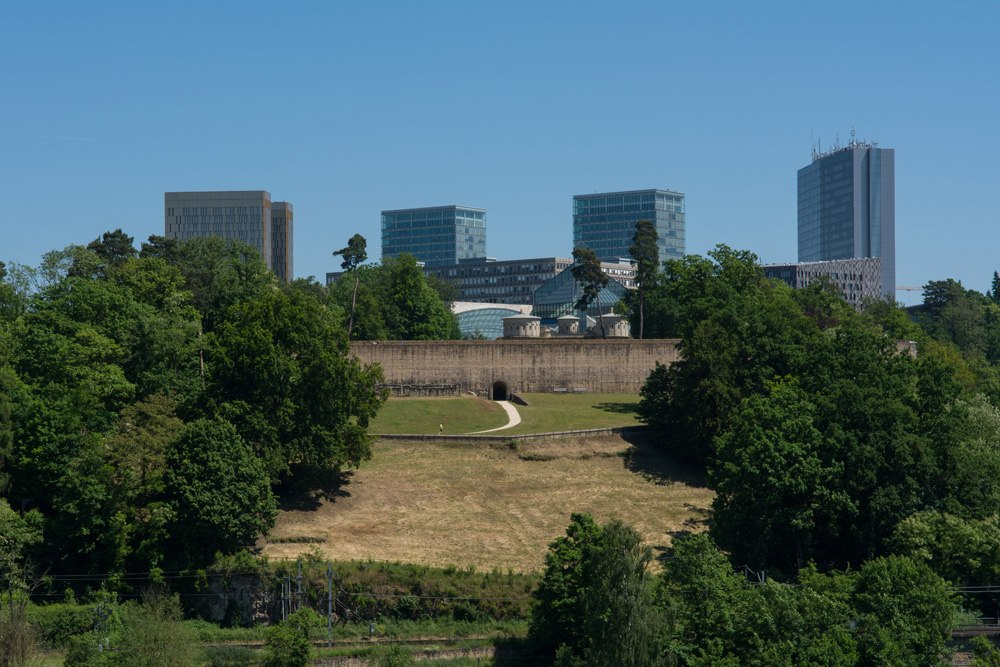 View of Mudam and modern buildings in Kirchberg neighbourhood, Luxembourg City, Luxembourg