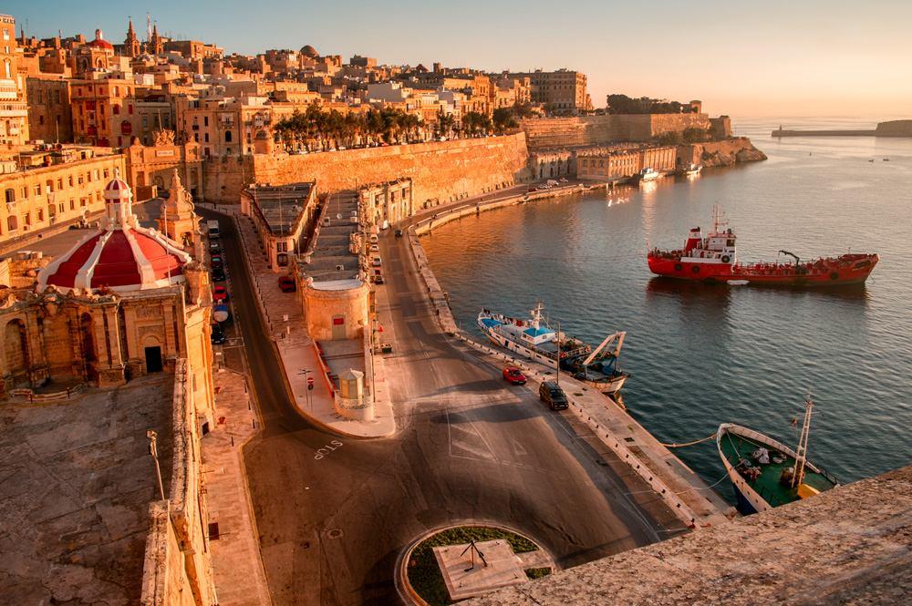 Ancient walls and streets of Valetta, Malta
