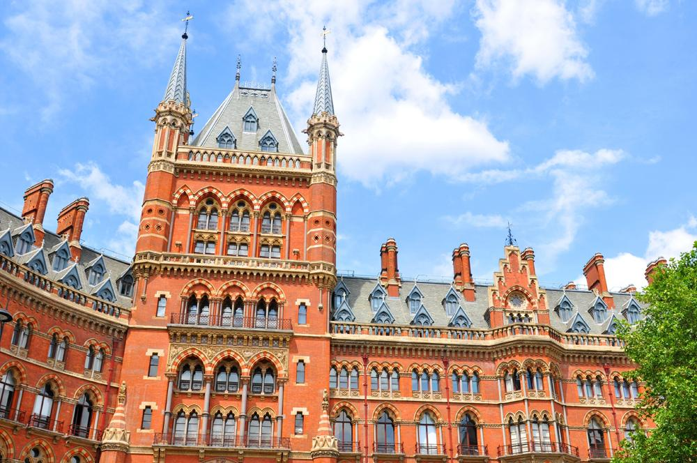 Architectural detail of the St Pancras train station in London, England, UK United Kingdom