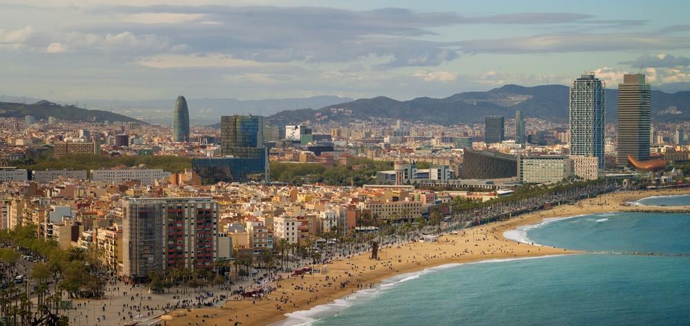 Barceloneta beach at morning sunrise, Barcelona, Spain