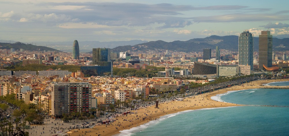 Barceloneta beach at morning sunrise, Barcelona, Spain